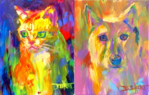 """Cattitude"" and ""Puma"" portraits by artist Robert Blehert"