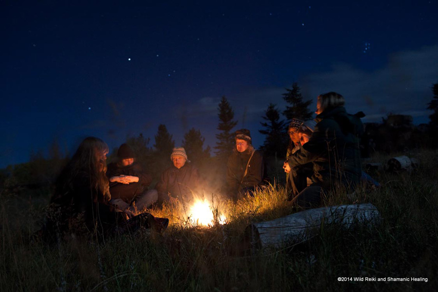 Storytelling after Fire Ceremony, ©2014 Andrew Hinton, www.reikishamanic.com